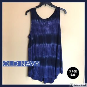 OLD NAVY Blue Tie Dyed Style Tank Top Flowy